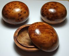 Three Tactile Turned Thuyawood Treen Gift by AmmoniteJewellery