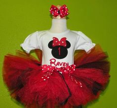 Red n Black Minnie Mouse Birthday Tutu Outfit Set