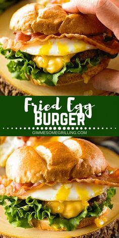 This over the top Cheesy Bacon Burger with Fried Egg! - Delicious Burger with Fried Egg on Top! Juicy homemade cheeseburger recipe topped with a fried egg - Gourmet Burgers, Burger Recipes, Grilling Recipes, Meat Recipes, Dinner Recipes, Homemade Cheeseburgers, Homemade Burgers, Fried Egg Burger, Hamburger With Egg