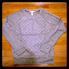 Forever 21 gray long sleeve top with lace front. Nice top! New without tags.  This top has long sleeves and is cut like a sweatshirt.  It's got a lace overlay with sequins.  The sequins are very subtle. From the Forever 21 website; label says Ambiance Apparel Forever 21 Tops