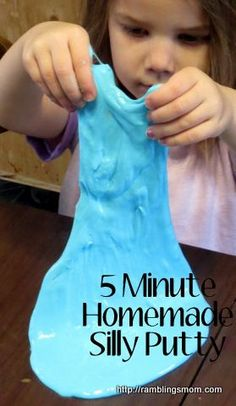 silly putty recipe. I experimented with several. This one is great. Rule of thumb: Loads more glue than many sites advise and LESS borax. I'd like to try this site's recipe with twice the glue but I ran out.