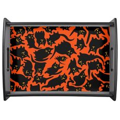 Crazy Halloween Cats Serving Tray