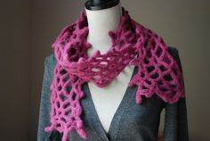 Felted Berry Colored Hand Crocheted Organic Merino Wool Scarf  102