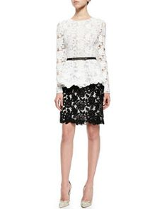 -5PQU Oscar by Oscar de la Renta Corded Guipure Lace Peplum Top, Silk Faille Belt & Lace Pencil Skirt