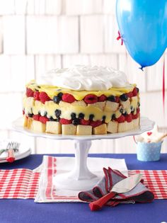 This luscious trifle tastes best if made the day before serving. Keep additional blueberries and raspberries on hand for decoration.   Red, White & Blue Berry Trifle Recipe from Taste of Home