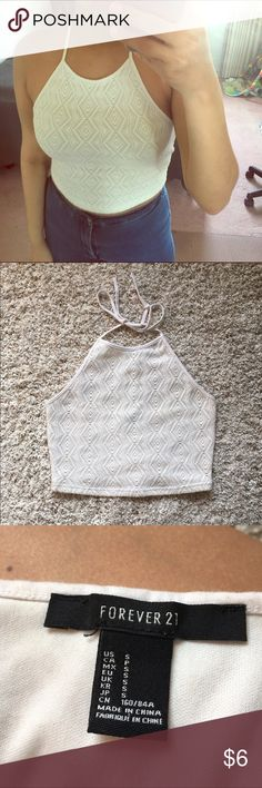 Crochet style halter top Beautiful top perfect for summer. NO damages or rips. In excellent condition. Forever 21 Tops