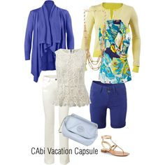 Build your CAbi vacation capsule - two tops, two bottoms, two toppers - at least eight outfits, with only a carry-on bag!