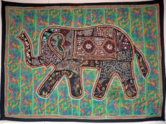 HANDMADE ELEPHANT BOHEMIAN PATCHWORK WALL HANGING EMBROIDERED TAPESTRY INDIA X07…