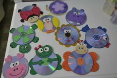 Recicla todos esos viejos CDs que tienes en casa y aprovéchalos para  hacer unas divertidas manualidades para los  niños. Basta trazar la fi... Barn Crafts, Music Crafts, Hobbies And Crafts, Arts And Crafts, Preschool Art Activities, Cd Art, Playroom Decor, Crafty Kids, Easter Crafts For Kids