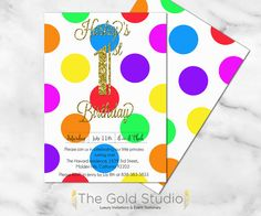 Rainbow spots 1st Birthday invitation multi color by TheGoldStudio