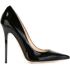Jimmy Choo Anouk Pumps ($465) ❤ liked on Polyvore featuring shoes, pumps, heels, black, black patent leather shoes, stiletto heel pumps, pointy-toe pumps, black stilettos and black pointy-toe pumps