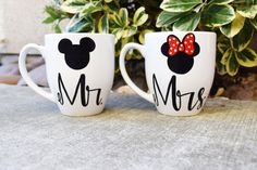 Coffee Mugs set of 2 Mr. and Mrs. his and hers door MakeLoveLive