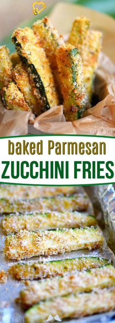 Baked Parmesan Zucchini Fries - Mom On Timeout Your new favorite way to eat zucchini! These Baked Parmesan Zucchini Fries are loaded with flavor and baked to golden perfection! The perfect way to use up your summer bounty! // Mom On Timeout<br> Side Dish Recipes, Veggie Recipes, Appetizer Recipes, Vegetarian Recipes, Cooking Recipes, Healthy Recipes, Baked Zuchinni Recipes, Parmesan Recipes, Shredded Zucchini Recipes