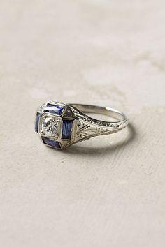 Deco Sapphire & Diamond Ring