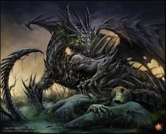 Necrotic Dragon by Chaos-Draco monster beast creature animal | Create your own roleplaying game material w/ RPG Bard: www.rpgbard.com | Writing inspiration for Dungeons and Dragons DND D&D Pathfinder PFRPG Warhammer 40k Star Wars Shadowrun Call of Cthulhu Lord of the Rings LoTR + d20 fantasy science fiction scifi horror design | Not Trusty Sword art: click artwork for source