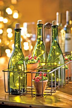 have directions on how to make these.  Bottle Light: LED Christmas Lights in Wine Bottle | Gardeners.com