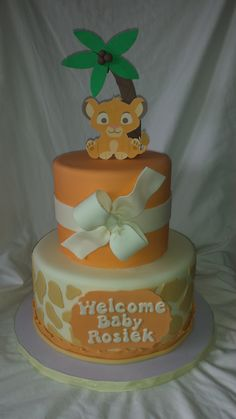 Flickr Jungle Safari Cake, Safari Cakes, Lion Cakes, Lion King Cakes, Torta Baby Shower, Lion King Birthday, Baby First Birthday, Baby Shower Parties, Baby Shower Themes