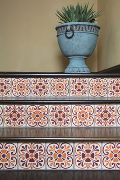 Italian and Spanish Stencils for Painting Tiled Stairs - Royal Design Studio