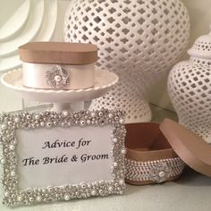 Wedding Table Centerpiece / Guest Advice Box For by LittleMrsBride. Become a Facebook Fan + Get 10% off. Use FACEBOOK10 at checkout on Etsy.