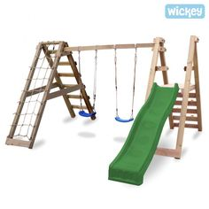 Swing high into the air with swings, swing frames and wooden children's swings ❤ Wickey swing and slide set with climbing wall ✓ Kids Swing, Child Swing, Playground Set, Wooden Garden Benches, Casa Real, Kids Play Area, Backyard For Kids, Kids And Parenting, Kids Playing