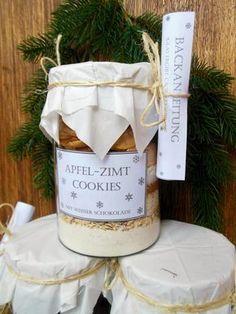 Geschenke aus der Küche (last minute) - Backmischungen im Glas: Apfel-Zimt Cookies mit weißer Schokolade & Cranberry-Kokos Cookies mit Vanille