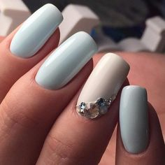 Beautiful nails 2017, Grey and white nails, Long nails, Nails trends 2017, Nails with rhinestones, Nails with rhinestones ideas, Pastel nails, Spring nails 2017
