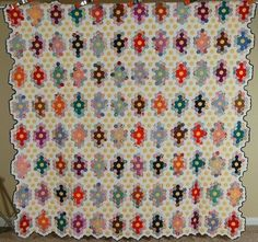 "Vintage 40's Field of Diamonds Flower Garden Antique Quilt.  3/4"" hexagons.  LOVE this design for repro fabrics!"