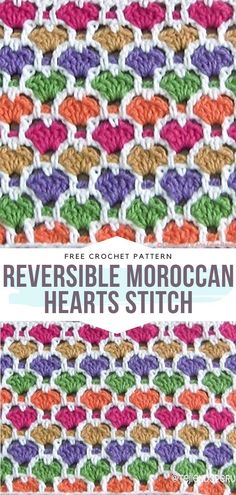 Valentine's Crochet Techniques Free Patterns Reversible Moroccan Hearts Stitch Free Crochet Pattern The Effective Pictures We Offer You About Crochet videos A quality picture can. Crochet Afghans, Crochet Stitches For Blankets, Crochet Stitches Free, Crochet Shell Stitch, Crochet Gratis, Single Crochet Stitch, Afghan Crochet Patterns, Stitch Patterns, Free Form Crochet