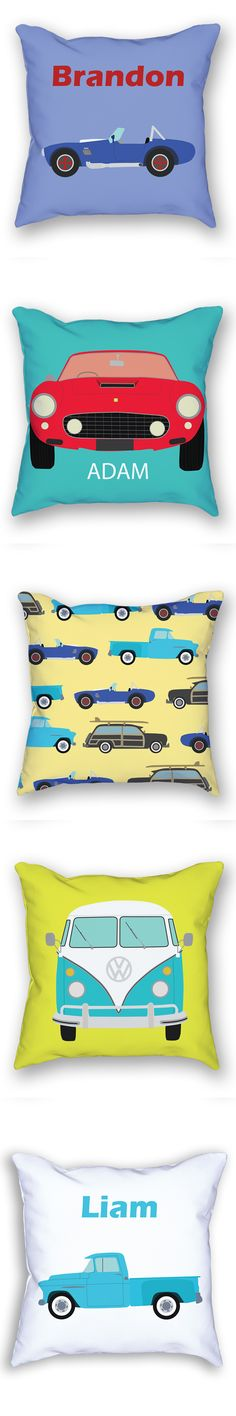 I love these car themed pillows! They are perfect for a boys room or for a baby boys nursery.