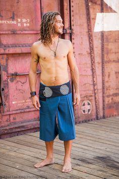 Men's Harem Pants, Men's Hippie Pants, Men's Burner Clothing, Sacred Geometry Clothing, Flower Of Life, Men's Yoga Shorts, Buddha Pants, Ohm