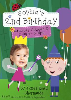 Ben and Holly's Little Kingdom invitation, Ben & Holly Invitation, Ben and Holly Party, 2nd birthday, girl or boy birthday invitation