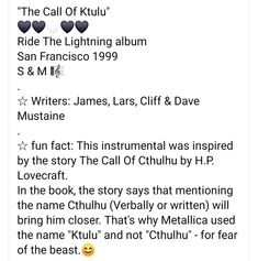 Ride The Lightning, Dave Mustaine, Call Of Cthulhu, Metallica, Growing Up, Fun Facts, Writer, Names, Album