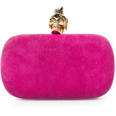Alexander McQueen Punk Skull Box Clutch ❤ liked on Polyvore featuring bags, handbags, clutches, suede purse, preowned handbags, suede handbags, pink purse and pink handbags