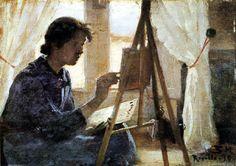 Peter Severin Krøyer  - Marie Krøyer paints in Ravello