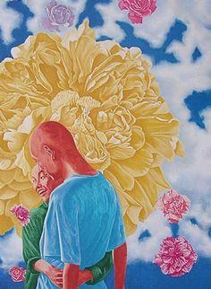 Couple-Flowers by Fang Lijun
