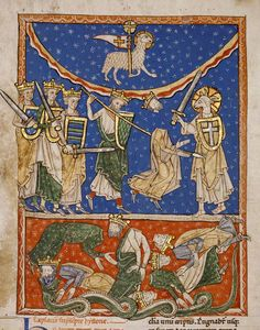 The Lamb Defeating the Ten Kings, Spanish, about 1220–35. Leaf from Beatus of Liébana, Commentary on the Apocalypse. The J. Paul Getty Museum, Ms. 77, recto.