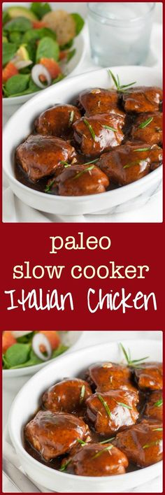 Easy Paleo Italian Chicken with Balsamic and Herbs. One-step recipe that you can make in your slow cooker. It's the easiest dish you'll make all week and absolutely delicious!