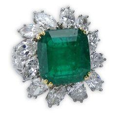 Carat Colombian Emerald, Carat Diamond and 18 Karat White Gold Ring – Kodner Galleries Colombian Emeralds, White Gold Rings, Diamond Jewelry, Bracelet Watch, Perfume Bottles, Gems, Bronze, Galleries, Vintage