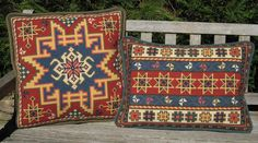 Stitch your own - unique one of a kind - Kilim pattern in small or large square pillow, lumbar back pillow or rug. Cross Stitch Books, Cross Stitch Kits, Cross Stitching, Cross Stitch Embroidery, Cross Stitch Cushion, Jute Fabric, Palestinian Embroidery, Bargello, Needlepoint