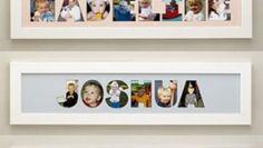 Decorare la cameretta: il nome del bambino con le sue foto Polaroid Film, Collage, Frame, Ideas, Picture Letters, Sons, How To Make, Bebe, Crafting