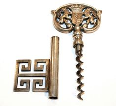 Greek Key Corkscrew! ... well, sort of ...   (German silver-plated key corkscrew, circa 1950s.)