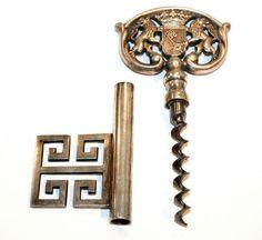 Greek Key Corkscrew! ... well, sort of ...   (German silver-plated key corkscrew, circa 1950s.)