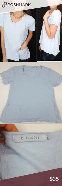 Cut Loose blue pocket front linen blend tee-B6 Cute Cut Loose brand top, size small! This top is a soft blend of linen and cotton in a beautiful shade of light blue. Two front pockets near hem.  Used item, pictures show signs of wear and use. Bundle up! Offers always welcome!:)  Shop my husband's closet!: @kirchingeraaron cut loose Tops