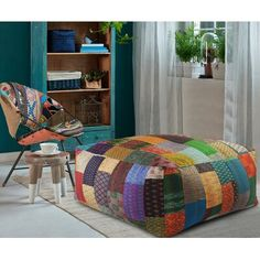 LR Home Patchwork Multi-Colored Over Sized Large Huge Kantha Ottoman Pouf Home Decor Outlet, Diy Home Decor, Room Decor, My New Room, My Room, Pouf Ottoman, Chaise Sofa, Decoration, Room Inspiration