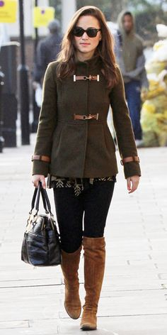 Pippa Middleton - army green Fay funnel coat, black jeans, brown boots, and Modalu snakeskin black bag