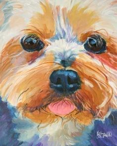 Yorkshire Terrier Art Print of Original Acrylic by dogartstudio