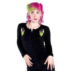 ZOMBETTIE CARDIGAN!   Zombie + Bettie Page = ZOMBETTIE!  Loves this.   On sale!! $24.99   <3 <3