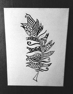 Feather design  sharpie drawings 25cm x 30cm by thetattooedcanvas, $30.00