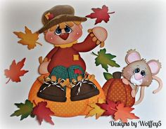 ELITE4U Fall Scarecrow Mice Paper Piecing Premade Scrapbook Page Album WOLFFEY5 | eBay