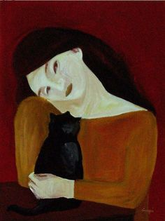 Luigia Crespi (Italian, b. 1956) - Woman with cat